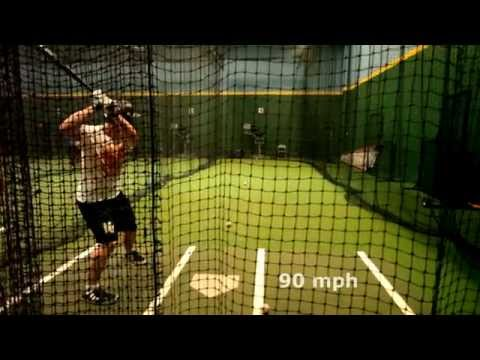 Hitting off Pitching Machine at 90mph with a Wood Southbat - Zach Diewert HS Sophomore