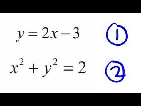 Simultaneous Equations, one is Quadratic
