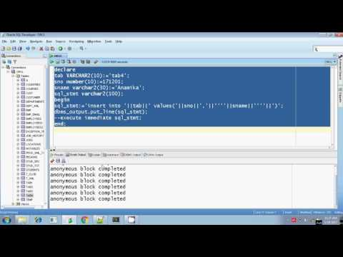 Oracle execute immediate dynamic sql insert with and without using bind argument Part 2