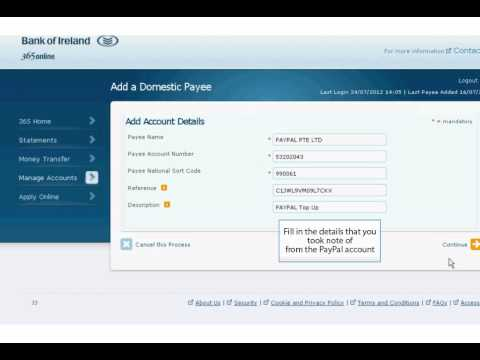 Transfer funds from Bank of Ireland to PayPal