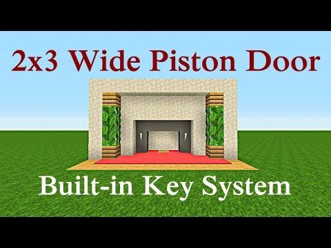 Minecraft Tutorial : 2x3 Piston Door Built in Key System