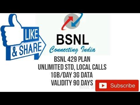 BSNL 429 Plan 3G Data FREE UNLIMITED PHONE CALLS 90 DAYS VALIDITY