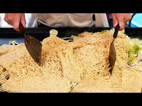 Japanese Street Food - YAKISOBA Fried Noodles Ramen Japan