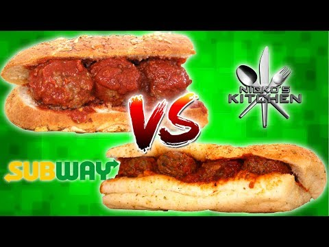 SUBWAY MEATBALL SUB vs HOMEMADE - Italian Herbs and Cheese Bread Recipe!