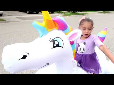 Kids Pretend Play with Inflatable Giant Unicorn and Chocolate Truck! family fun video
