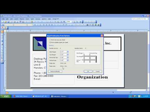 Printing on a Multi-Card Layout in Microsoft Publisher