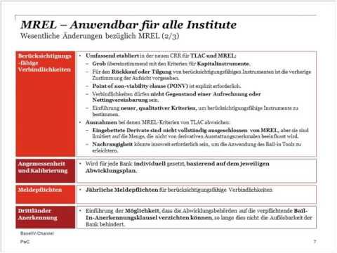 German Basel IV-Channel, Weitere regulatorische Neuerungen - von MREL bis zur NSFR, 27. Jan. 17