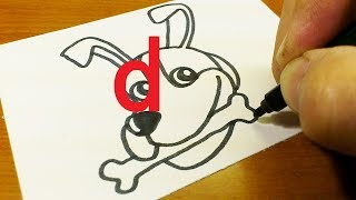 """Very Easy ! How to draw DOG doodle using letter """"d"""" step by step for kids"""