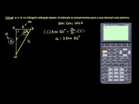 Exemplo: trigonometria para calcular os lados e ângulos de um triângulo retângulo