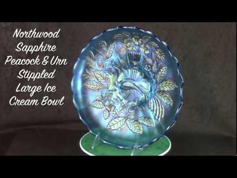 Northwood Sapphire Peacock & Urn Stippled Large Ice Cream Bowl