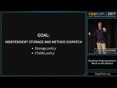 """CppCon 2017: Louis Dionne """"Runtime Polymorphism: Back to the Basics"""""""