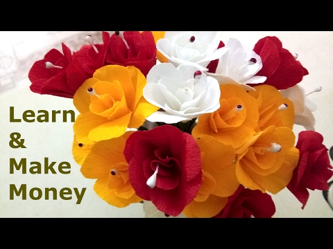 How to Make Paper Rose Artificial Flowers Realistic Easy Tissue Paper Rose Tutorial