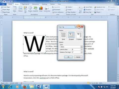 Insert tab   Textbox, Wordart,drop Cap, Object, Symbol in ms word