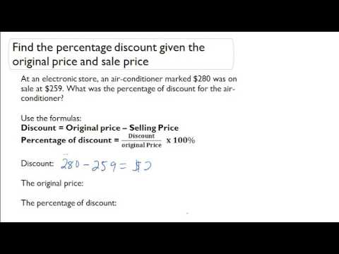 Find the percentage discount given the original price and sale price