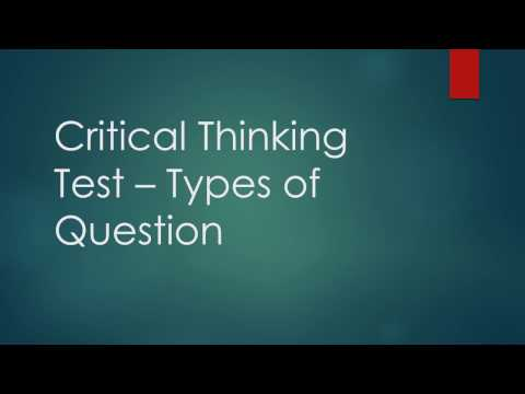 Critical Thinking Test - Types of Question