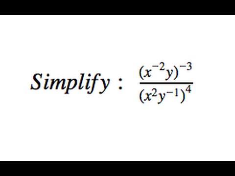 Simplify (x^(-2)y)^(-3)/(x^2y^(-1))