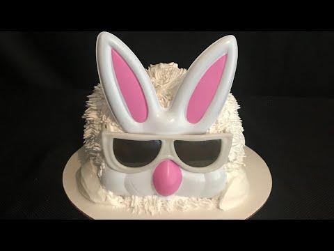Pastel con decorado de conejo  (Easter bunny cake)