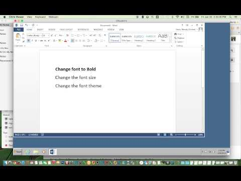 Change the Font (bold, size, theme) using Word 2013