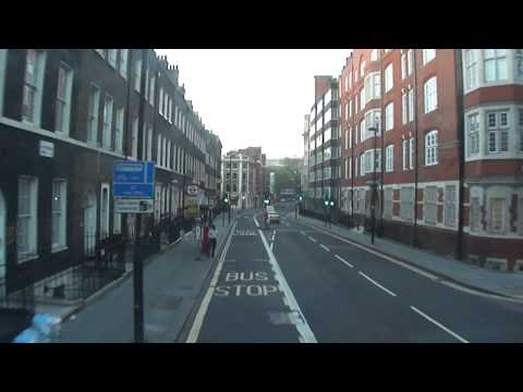 Early morning (5:40am) number 24 bus ride on quiet streets, from Camden Town to Victoria, London