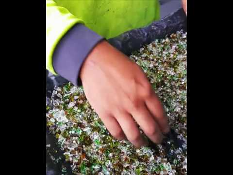 Sorting Recycled Glass for Concrete Counter Tops