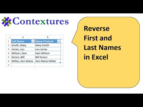 Reverse First and Last Names in Excel