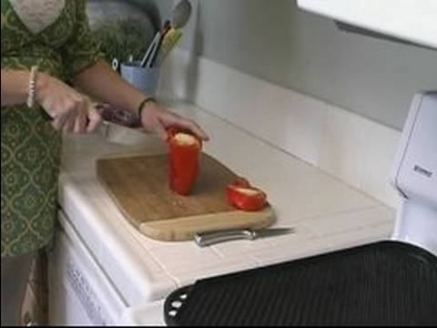 How to Make an Island Chicken Platter : Cleaning & Slicing Peppers For An Island Chicken Platter