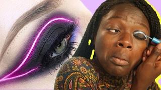 Women Try Neon Makeup