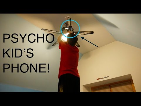 HANGING PSYCHO KIDS PHONE ON CEILING FAN!