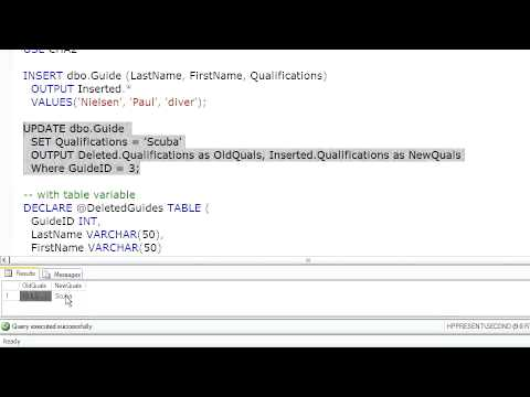 SQL Server Using the Output Clause