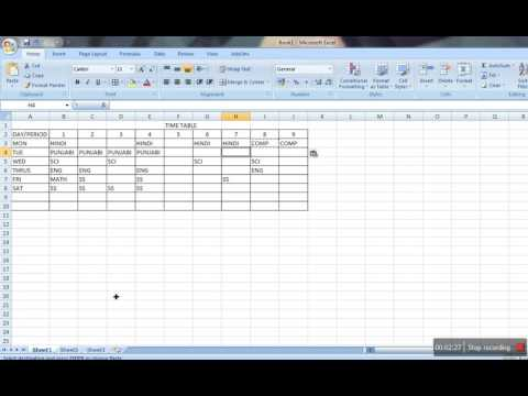 How to make Time Table in MS Excel