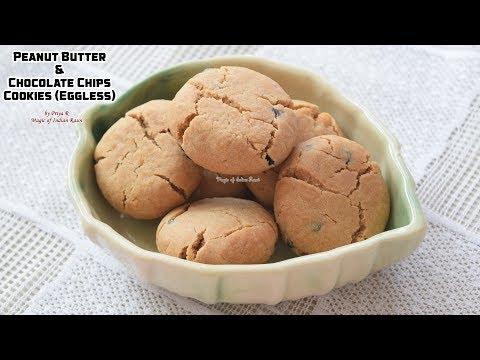 Peanut Butter & Chocolate Chips Cookies (Eggless) Recipe - Priya R - Magic of Indian Rasoi