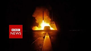Syria air strikes:  Footage showed missiles being launched - BBC News