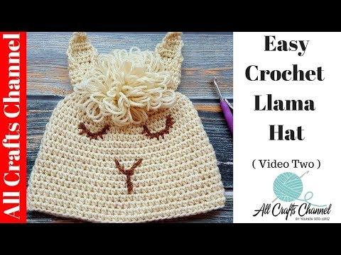 How to crochet easy Llama Hat  (Video Two) Alpaca