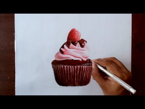 Drawing a chocolate cupcake - Prismacolor pencils