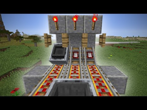 Minecraft- Hopper Minecart Unloader Tutorial [Tileable, 1 Block Wide, Super Fast]