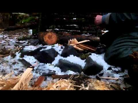 Camping in the Hoh Rain Forest with Improvised Shelter December 2012