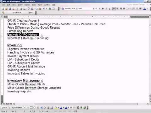 SAP Analysis Of PO History