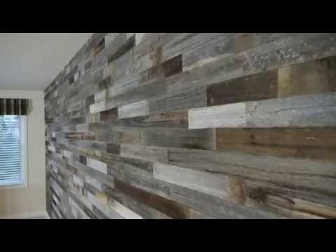 Reclaimed weathered wood interior wall