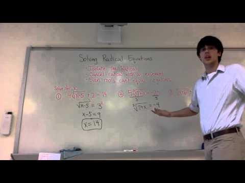 Solving Radical Equations (7-5-1)