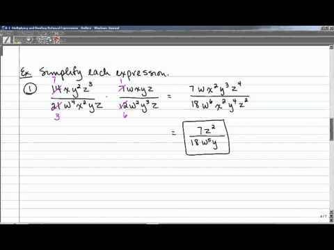 8-1 Multiplying and Dividing Rational Expressions