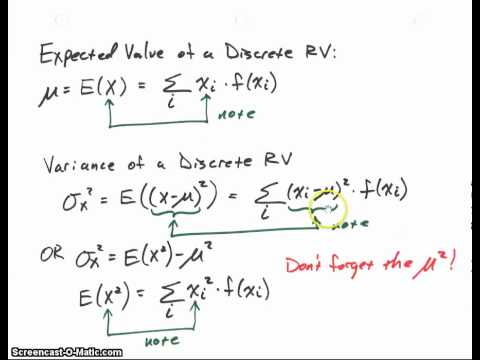 Expected Value, Mean, Variance, Standard Deviation