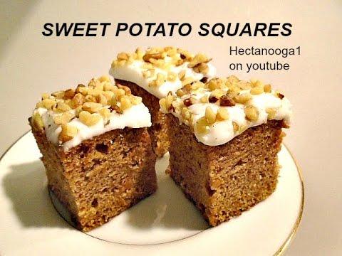 SWEET POTATO SQUARES, vegan, vegetarian, dessert, cake, recipe