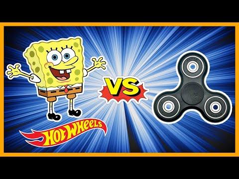 SPONGEBOB HOT WHEELS vs FIDGET SPINNERS - BATTLE!!!