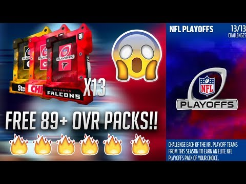 HOW TO GET 13 FREE 89+ OVR PLAYOFF PACKS!! SO MANY GOOD PULLS!! - Madden 18 Ultimate Team