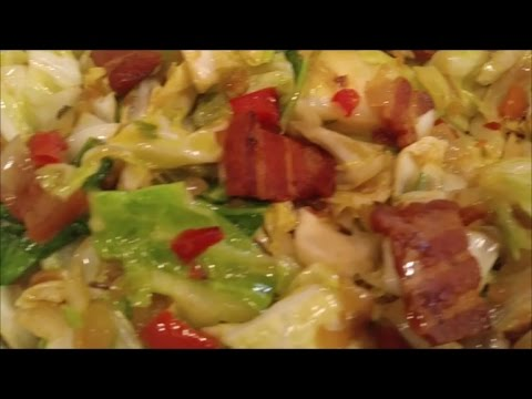 Southern Fried Cabbage with Salt Bacon and Peppers:How to Make