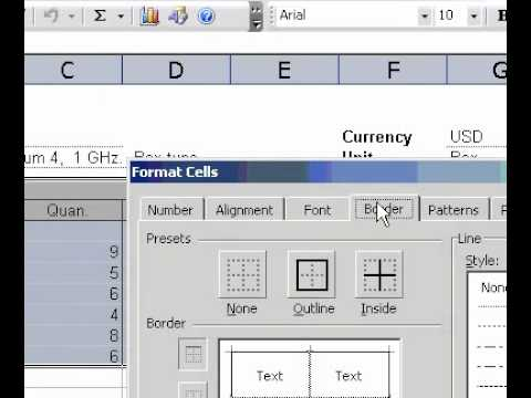Microsoft Office Excel 2003 Border styles