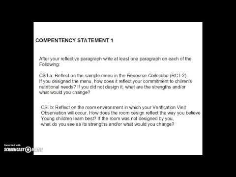 CDA Writing Competency Standard 1