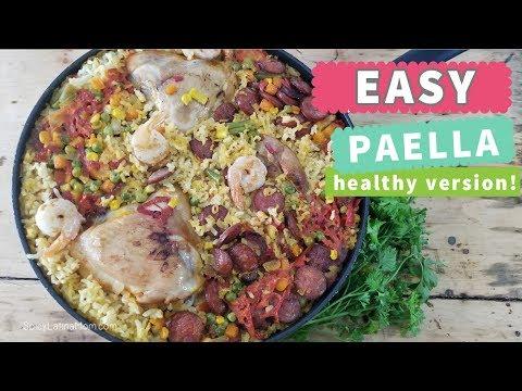 Easy Paella Recipe | Healthy version - Receta de Paella Saludable | Spicy Latina Mom