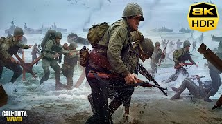 Call Of Duty WW2 Normandy D-DAY 4K-8K HDR Realistic Ultra Graphics Gameplay (COD World War 2)