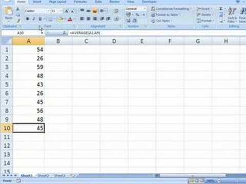 Excel 2007 - Calculating The Average Of A Group Of Cells